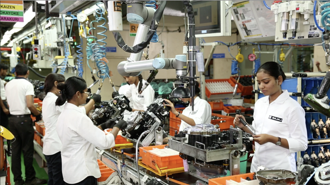 Bajaj Auto, Chakan using Universal Robots' cobots in the assembly line
