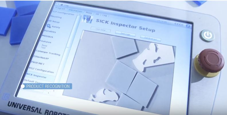 The vision inspection interface of the SICK senor on a UR robot